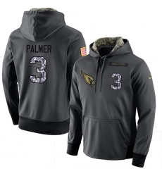NFL Men Nike Arizona Cardinals #3 Carson Palmer Stitched Black Anthracite Salute to Service Player Performance Hoodie