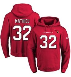 NFL Men Nike Arizona Cardinals #32 Tyrann Mathieu Red Name & Number Pullover Hoodie