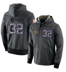 NFL Men Nike Arizona Cardinals #32 Tyrann Mathieu Stitched Black Anthracite Salute to Service Player Performance Hoodie