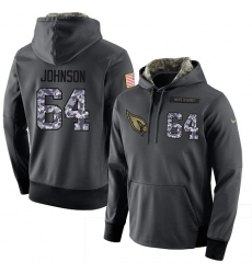 NFL Men Nike Arizona Cardinals #64 Dorian Johnson Stitched Black Anthracite Salute to Service Player Performance Hoodie
