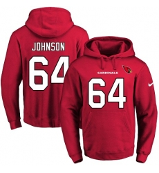 NFL Men's Nike Arizona Cardinals #64 Dorian Johnson Red Name & Number Pullover Hoodie