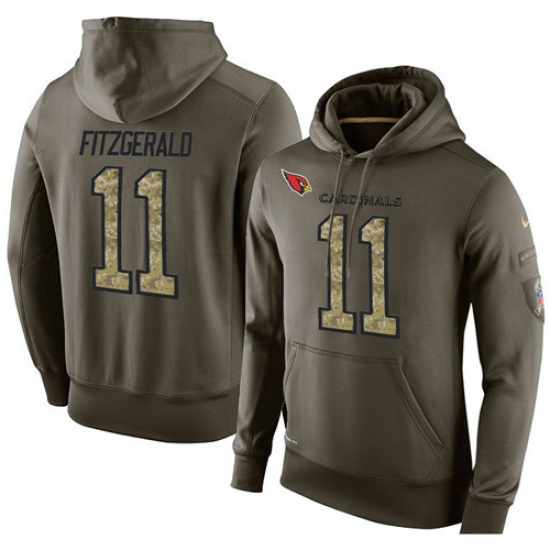 NFL Nike Arizona Cardinals #11 Larry Fitzgerald Green Salute To Service Men Pullover Hoodie
