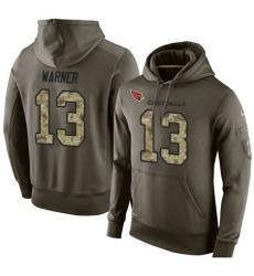 NFL Nike Arizona Cardinals #13 Kurt Warner Green Salute To Service Men's Pullover Hoodie