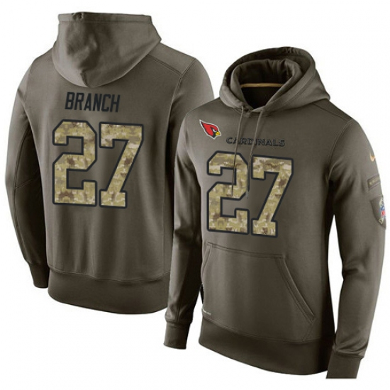 NFL Nike Arizona Cardinals #27 Tyvon Branch Green Salute To Service Men Pullover Hoodie