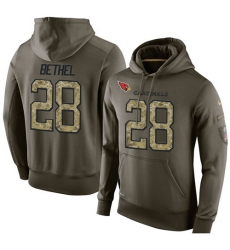 NFL Nike Arizona Cardinals #28 Justin Bethel Green Salute To Service Men's Pullover Hoodie