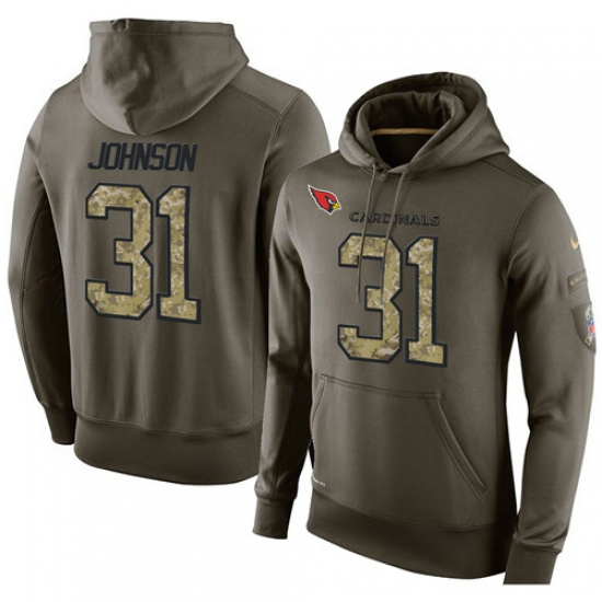 NFL Nike Arizona Cardinals #31 David Johnson Green Salute To Service Men Pullover Hoodie