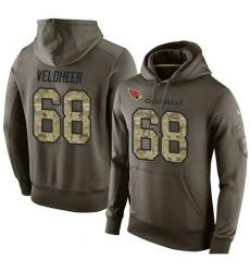 NFL Nike Arizona Cardinals #68 Jared Veldheer Green Salute To Service Men Pullover Hoodie