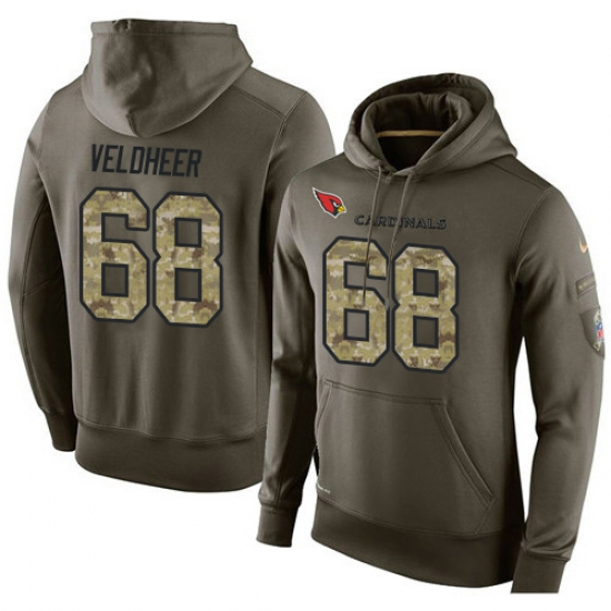 NFL Nike Arizona Cardinals #68 Jared Veldheer Green Salute To Service Men Pullover Hoodie
