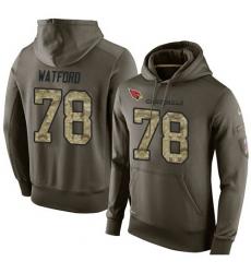 NFL Nike Arizona Cardinals #78 Earl Watford Green Salute To Service Men's Pullover Hoodie