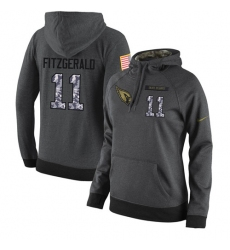 NFL Women Nike Arizona Cardinals #11 Larry Fitzgerald Stitched Black Anthracite Salute to Service Player Performance Hoodie