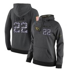 NFL Women Nike Arizona Cardinals #22 T. J. Logan Stitched Black Anthracite Salute to Service Player Performance Hoodie