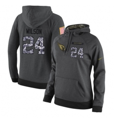 NFL Women Nike Arizona Cardinals #24 Adrian Wilson Stitched Black Anthracite Salute to Service Player Performance Hoodie