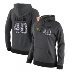 NFL Women's Nike Arizona Cardinals #40 Pat Tillman Stitched Black Anthracite Salute to Service Player Performance Hoodie