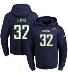 NFL Men's Nike Los Angeles Chargers #32 Branden Oliver Navy Blue Name & Number Pullover Hoodie