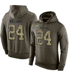 NFL Nike Los Angeles Chargers #24 Trevor Williams Green Salute To Service Men's Pullover Hoodie
