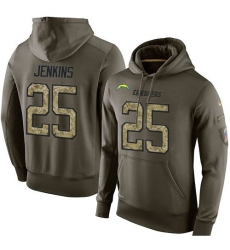 NFL Nike Los Angeles Chargers #25 Rayshawn Jenkins Green Salute To Service Men's Pullover Hoodie