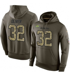 NFL Nike Los Angeles Chargers #32 Branden Oliver Green Salute To Service Men's Pullover Hoodie