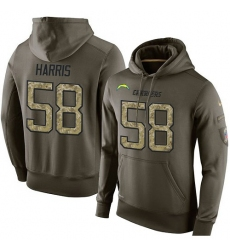 NFL Nike Los Angeles Chargers #58 Nigel Harris Green Salute To Service Men's Pullover Hoodie