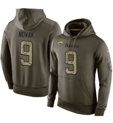 NFL Nike Los Angeles Chargers #9 Nick Novak Green Salute To Service Men's Pullover Hoodie