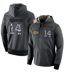 NFL Men's Nike Kansas City Chiefs #14 Demarcus Robinson Stitched Black Anthracite Salute to Service Player Performance Hoodie
