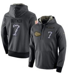 NFL Men's Nike Kansas City Chiefs #7 Harrison Butker Stitched Black Anthracite Salute to Service Player Performance Hoodie