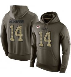 NFL Nike Kansas City Chiefs #14 Demarcus Robinson Green Salute To Service Men's Pullover Hoodie