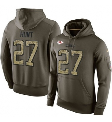 NFL Nike Kansas City Chiefs #27 Kareem Hunt Green Salute To Service Men's Pullover Hoodie