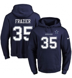 NFL Men's Nike Dallas Cowboys #35 Kavon Frazier Navy Blue Name & Number Pullover Hoodie