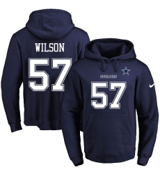 NFL Men's Nike Dallas Cowboys #57 Damien Wilson Navy Blue Name & Number Pullover Hoodie
