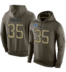 NFL Nike Dallas Cowboys #35 Kavon Frazier Green Salute To Service Men's Pullover Hoodie