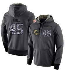 NFL Men's Nike Miami Dolphins #45 Mike Hull Stitched Black Anthracite Salute to Service Player Performance Hoodie