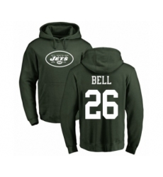 Football New York Jets #26 Le'Veon Bell Green Name & Number Logo Pullover Hoodie