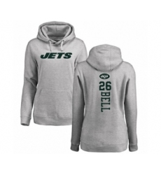 Football Women's New York Jets #26 Le'Veon Bell Ash Backer Pullover Hoodie