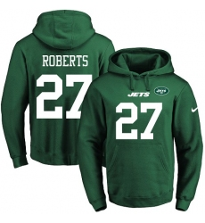 NFL Men's Nike New York Jets #27 Darryl Roberts Green Name & Number Pullover Hoodie