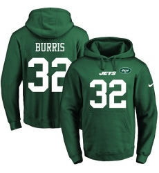 NFL Men's Nike New York Jets #32 Juston Burris Green Name & Number Pullover Hoodie