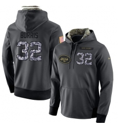 NFL Men's Nike New York Jets #32 Juston Burris Stitched Black Anthracite Salute to Service Player Performance Hoodie