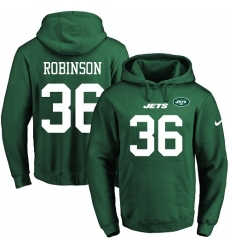 NFL Men's Nike New York Jets #36 Rashard Robinson Green Name & Number Pullover Hoodie