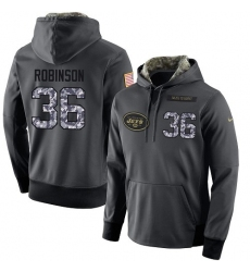 NFL Men's Nike New York Jets #36 Rashard Robinson Stitched Black Anthracite Salute to Service Player Performance Hoodie