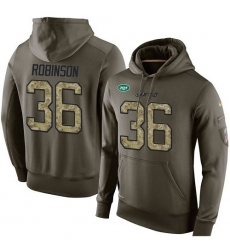 NFL Nike New York Jets #36 Rashard Robinson Green Salute To Service Men's Pullover Hoodie