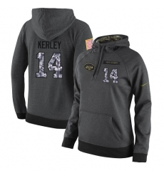 NFL Women's Nike New York Jets #14 Jeremy Kerley Stitched Black Anthracite Salute to Service Player Performance Hoodie