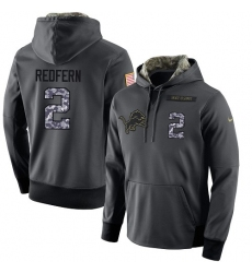 NFL Men's Nike Detroit Lions #2 Kasey Redfern Stitched Black Anthracite Salute to Service Player Performance Hoodie