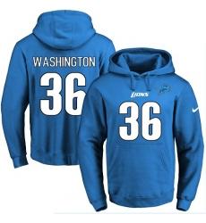 NFL Men's Nike Detroit Lions #36 Dwayne Washington Blue Name & Number Pullover Hoodie