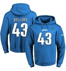 NFL Men's Nike Detroit Lions #43 Nick Bellore Blue Name & Number Pullover Hoodie