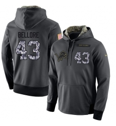 NFL Men's Nike Detroit Lions #43 Nick Bellore Stitched Black Anthracite Salute to Service Player Performance Hoodie