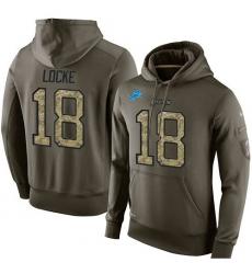 NFL Nike Detroit Lions #18 Jeff Locke Green Salute To Service Men's Pullover Hoodie