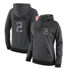 NFL Women's Nike Detroit Lions #2 Kasey Redfern Stitched Black Anthracite Salute to Service Player Performance Hoodie