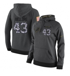 NFL Women's Nike Detroit Lions #43 Nick Bellore Stitched Black Anthracite Salute to Service Player Performance Hoodie