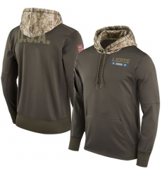 NFL Youth Detroit Lions Nike Olive Salute to Service Sideline Therma Pullover Hoodie