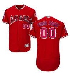 Men's Los Angeles Angels Majestic Alternate Scarlet Flex Base Authentic Collection Custom Jersey