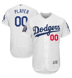 Men's Los Angeles Dodgers Majestic White 60th Anniversary Home On-Field Patch Flex Base Custom Jersey